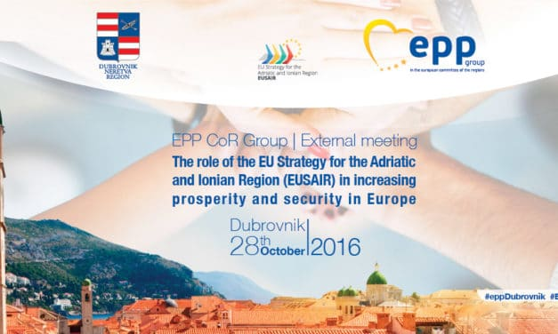 "Declaration of CoR EPP Group external meeting ""The role of the EUSAIR in increasing prosperity and security in Europe"", Dubrovnik, 28th October 2016"